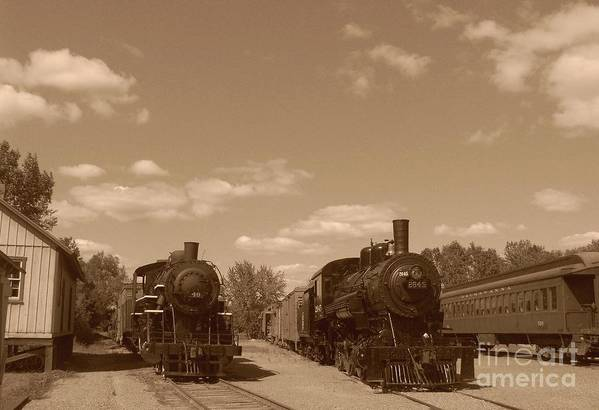 Locomotives Art Print featuring the photograph Locomotives In Sepia by Charles Robinson