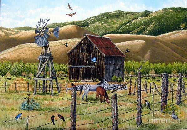Southwest Art Print featuring the painting Lompa Valley Ranch by Santiago Chavez