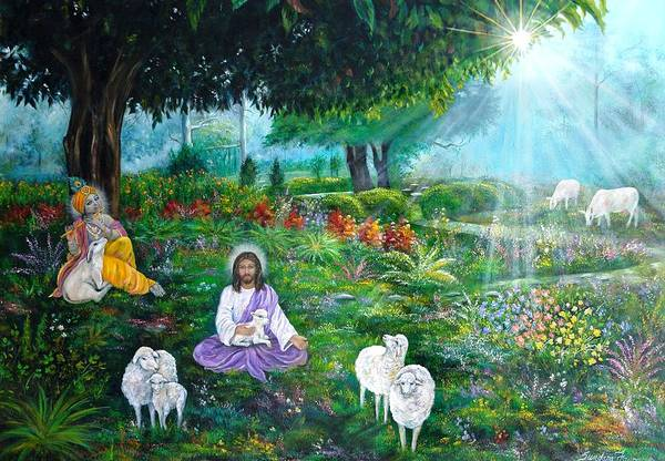 Jesus Art Print featuring the painting Lord Jesus And Lord Krishna by Sundara Fawn