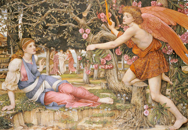 Love And The Maiden Art Print featuring the painting Love And The Maiden by JRS Stanhope
