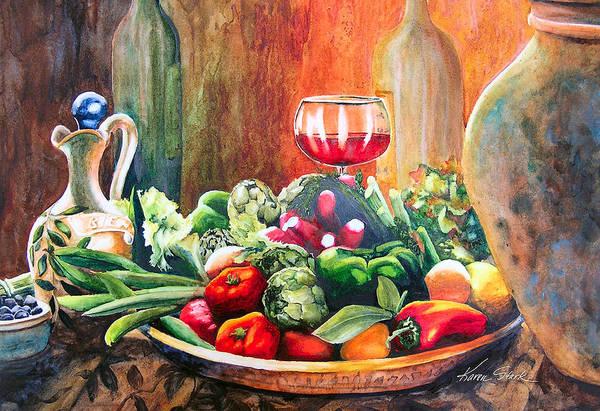 Still Life Art Print featuring the painting Mediterranean Table by Karen Stark