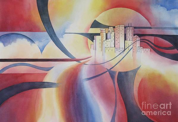 Minneapolis Skyline Art Print featuring the painting Minneapolis Cityscape by Deborah Ronglien