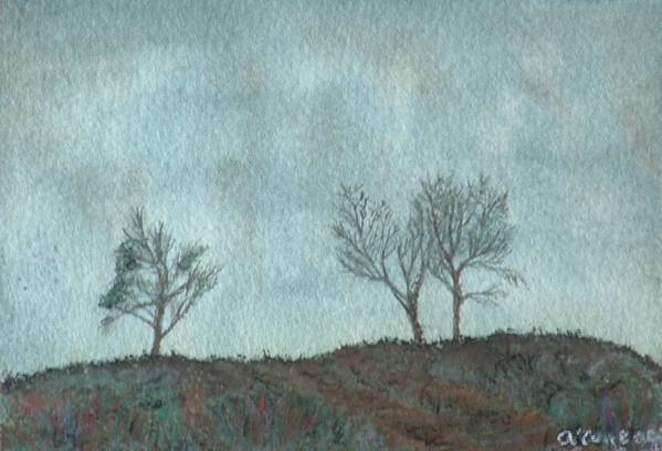 Landscape Art Print featuring the painting Misty Morning by Lynn ACourt