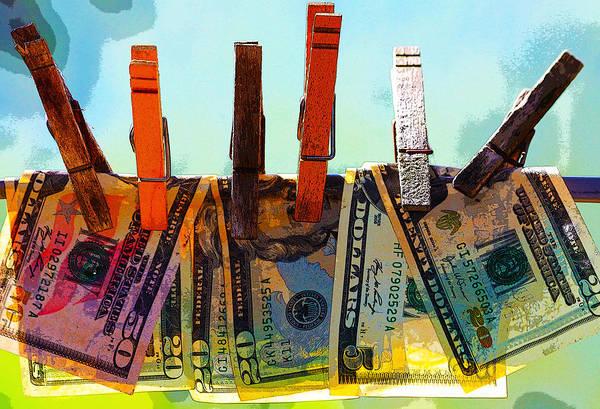 Clothespins Art Print featuring the digital art Money Laundering by Karon Melillo DeVega