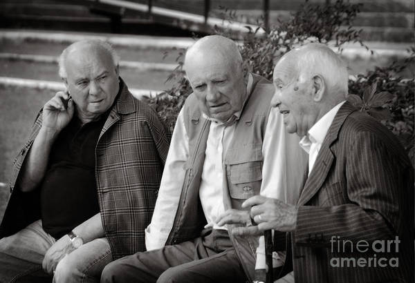 Men Talking Art Print featuring the photograph Morning Discussion by Jim Calarese
