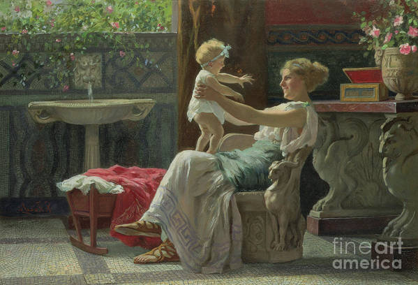 Baby; Roman; Fountain; Interior; Classicising; Classical; Antique; Scene; Mother; Child; Cradle; Maternal; Maternity; Love; Family; Smile; Laughing; Playing; Ribbon Art Print featuring the painting Mother's Darling by Zocchi Guglielmo