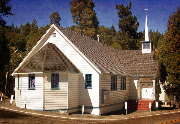 Crestline Art Print featuring the photograph Mountain Crossroads Church Building by Glenn McCarthy Art and Photography