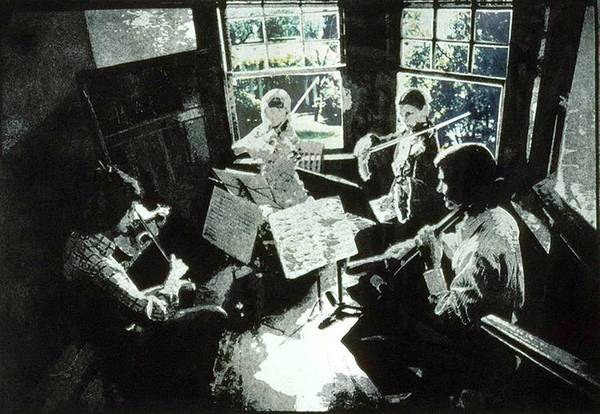 String Quartet Art Print featuring the mixed media Music As Light by Randy Sprout