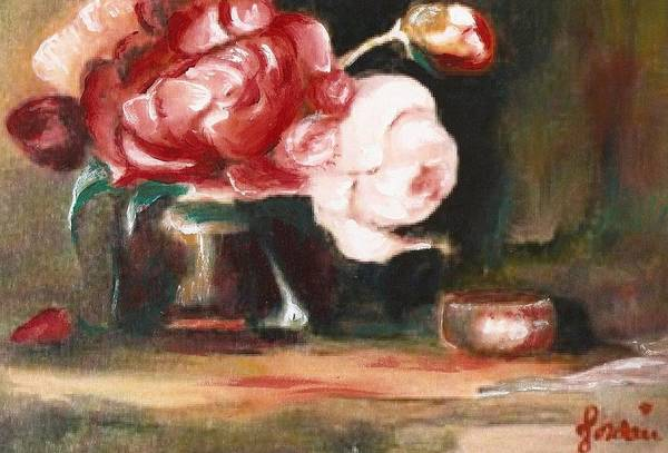 Flower Still Life Artwork Roses Art Print featuring the painting My Little Flowers by Jordana Sands