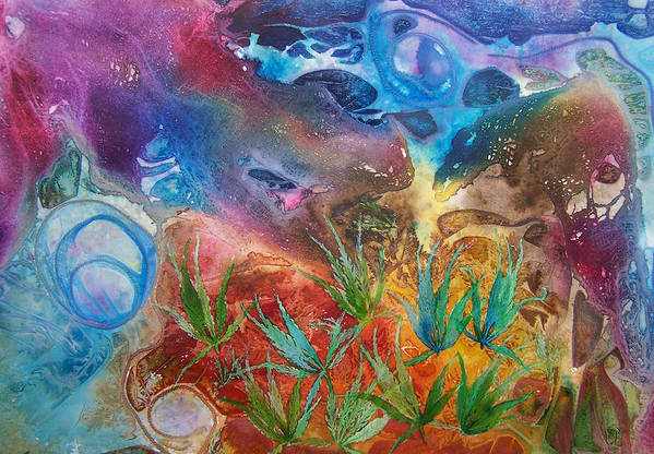 Mixed Media Art Print featuring the painting Mysteries Of The Ocean by Vijay Sharon Govender