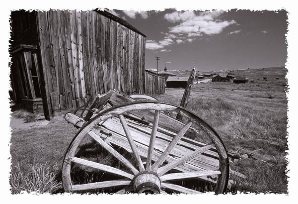 Black And White Art Print featuring the photograph Old Cart And Building Bodie California by George Oze