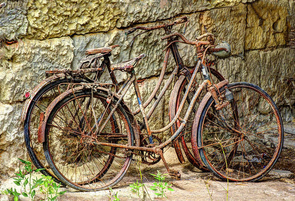 Austria Art Print featuring the photograph Old French Bicycles by Debra and Dave Vanderlaan