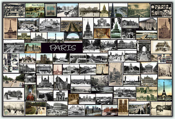Old Paris Print featuring the pyrography Old Paris Collage by Janos Kovac