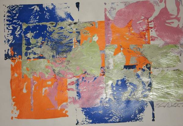 Abstract Art Print featuring the painting Orange Marmalade And Blueberry Jam by Edward Wolverton