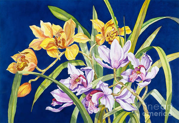 Orchids Art Print featuring the painting Orchids In Blue by Lucy Arnold