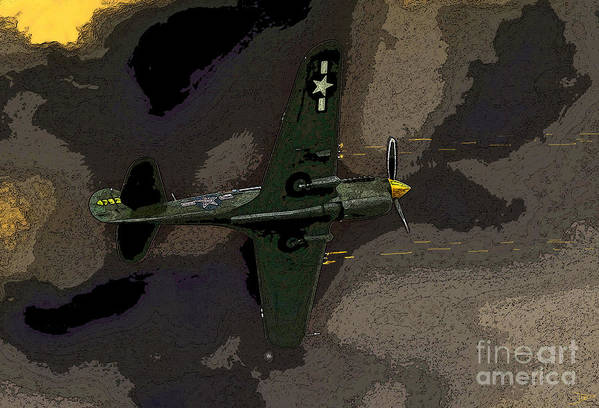 Artwork Art Print featuring the painting P 40 Warhawk In Action by David Lee Thompson