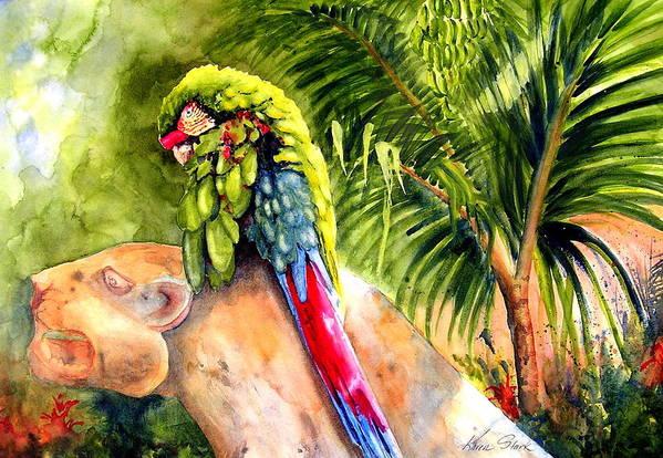 Parrot Art Print featuring the painting Pajaro by Karen Stark