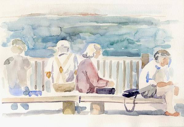 People Paintings Art Print featuring the painting People On Benches by Linda Berkowitz