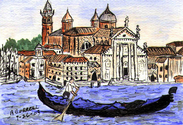 Piazzo San Marco Art Print featuring the painting Piazzo San Marco Venice Italy by Arlene Wright-Correll