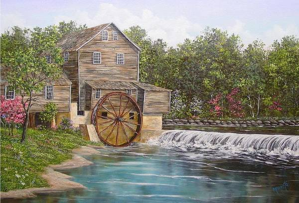 Landscape Art Print featuring the painting Pigeon Forge Mill by Marveta Foutch