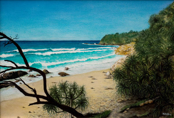 Seascape; Point Perry Art Print featuring the painting Point Perry Coolum Beach by Joe Michelli