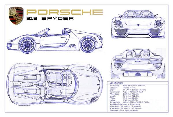 Porsche 918 Spyder Blueprint Art Print