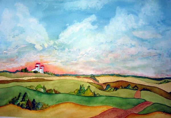 Prairie Grain Elevators Art Print featuring the painting Prairie Grain Elevators by Joanne Smoley
