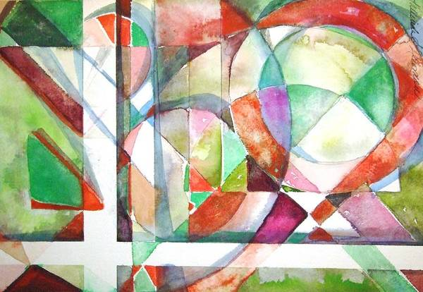 Geometric Art Print featuring the painting Red And Green by Mindy Newman