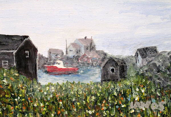 Red Boat Art Print featuring the painting Red Boat In Peggys Cove Nova Scotia by Ian MacDonald