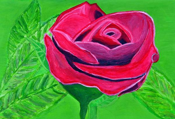 Red Rose Art Print featuring the painting Red Rose 2 by Magdalena Frohnsdorff