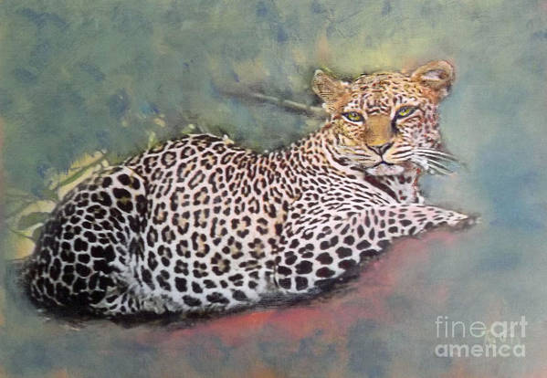 Leopard Art Print featuring the painting Resting Leopard by Richard James Digance