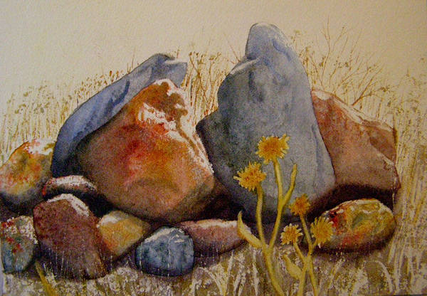 Landscape Art Print featuring the painting Rocks by Teresa Boston