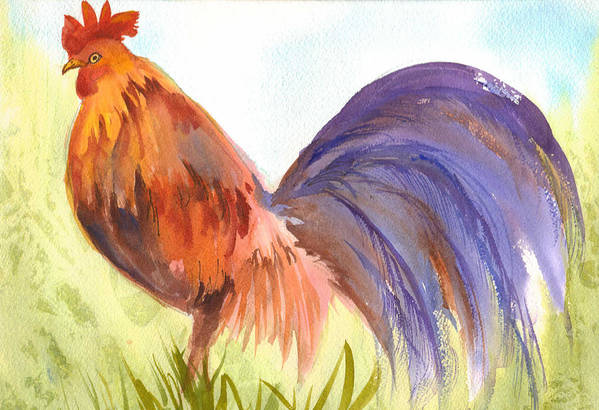 Rooster Art Print featuring the painting Rooster 2 by Ruth Bevan