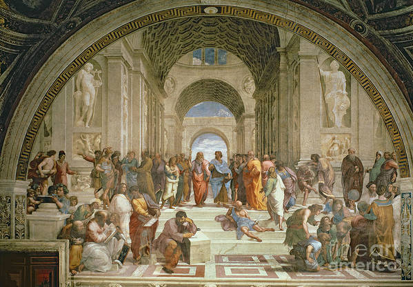 School Art Print featuring the painting School Of Athens From The Stanza Della Segnatura by Raphael