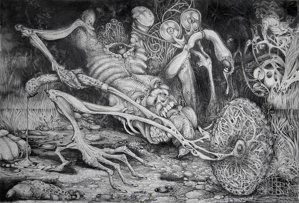 Surrealism Art Print featuring the drawing Selfpropelled Beastie Seeder by Otto Rapp