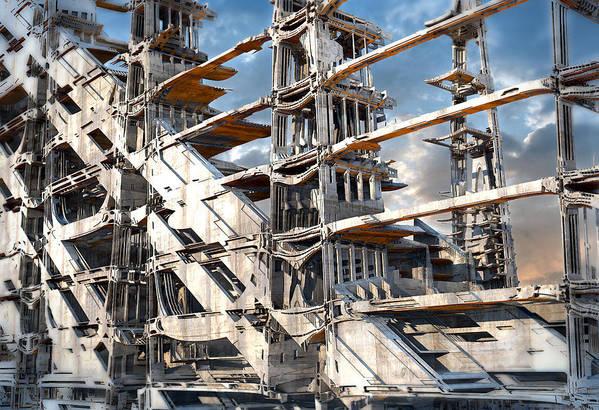 Sciencefiction Scifi Grunge Dystopian Architecture Building Fractal Steampunk Fractalart Mandelbulb3d Mandelbulb Art Print featuring the digital art Sky Ramp by Hal Tenny