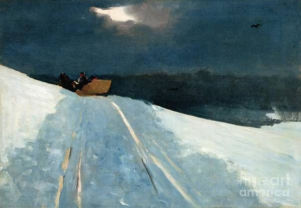 Winter Scene; Wintry; Snow; Snow-covered Landscape; Rural; Remote; Night; Darkness; Tracks; Path; Track; Moonlight; Sledge; Nocturne; Sleigh Ride Print featuring the painting Sleigh Ride by Winslow Homer