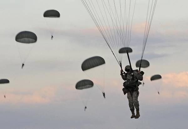 History Print featuring the photograph Soldiers Of The 82nd Airborne Descend by Everett