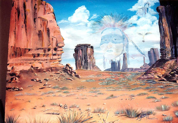 Native American Art Print featuring the painting Spirit In The Wind by Joan Gossett