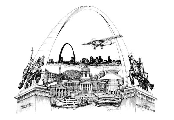 City Drawing Art Print featuring the drawing St. Louis Highlights Version 1 by Dennis Bivens