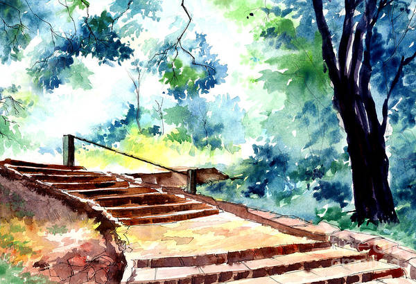 Landscape Art Print featuring the painting Steps To Eternity by Anil Nene
