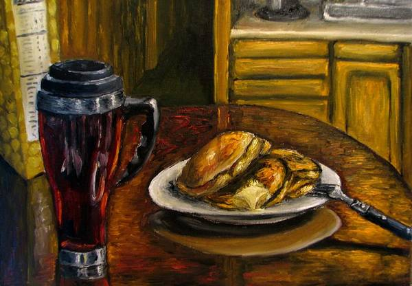 Still Life Painting Art Print featuring the painting Still Life Pancakes And Coffee Painting by Natalja Picugina