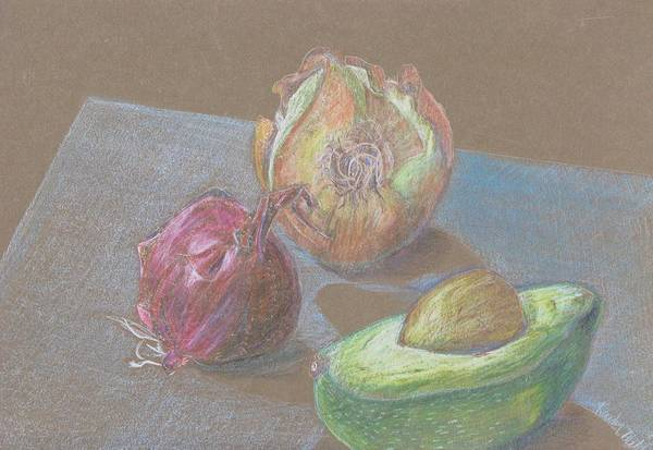 Still Life Art Print featuring the drawing Still Life With Avacado by Kathy Mitchell