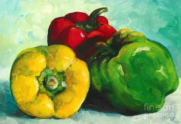 Vegetables Art Print featuring the painting Stoplight by Linda Vespasian