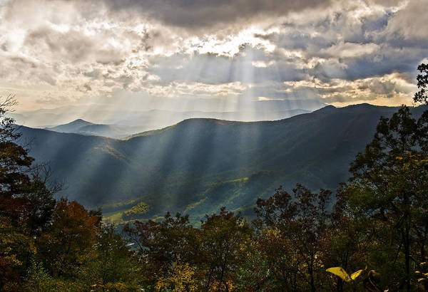 Landscape Art Print featuring the photograph Sun Rays Linville Falls Nc by Michael Whitaker