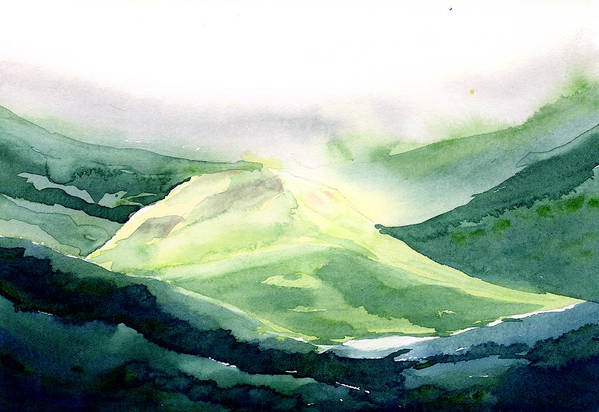 Landscape Art Print featuring the painting Sunlit Mountain by Anil Nene