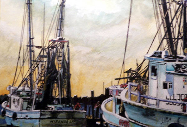 Shrimp Art Print featuring the painting Swansboro Shrimp Boats by Jim Phillips