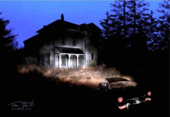 Haunted House Art Print featuring the digital art Tail Lights by Tom Straub