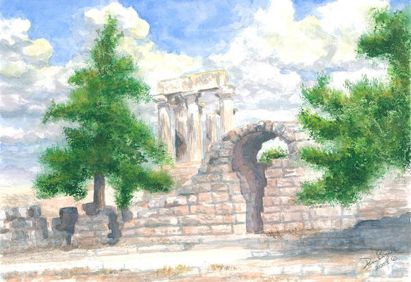 Grecian Temple Ruins Art Print featuring the painting Temple Of Apollo - Corinth by Dan Bozich