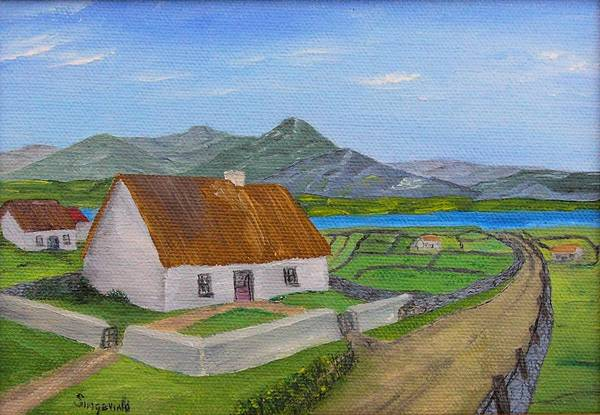 Irish Scene Art Print featuring the painting Thatched House 2 by Cary Singewald